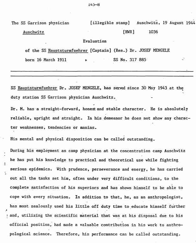 dr. josef mengele research paper Holocaust medical experiments, an essay in a series by a class studying the subject home photos and art art  holocaust medical experiments | essay holocaust essays holocaust essays: medical experiments of the holocaust  one of the most notorious names in these experiments was dr josef mengele he was known as the angel of death and.